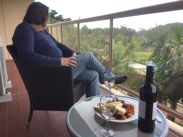 Wine and cheese, relaxing on the balcony